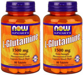 2-Pack Of Glutamine 1500 mg 90 Tabs, Now Foods, Pharmaceutical Grade Mass