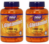 2-Pack Of L-Glutamine Double Strength 1000 mg 120 Caps, Now Foods