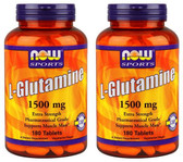 2-Pack Of Sports L-Glutamine 1500 mg 180 Tabs, Now Foods, Muscle Mass