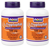 2-Pack Of L-Tryptophan 500 mg 60 Vcaps, Now Foods, Supports Relaxation