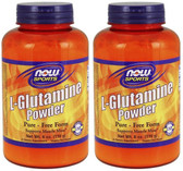 2-Pack Of Glutamine Pure Powder 6 oz, Now Foods, Muscle Mass