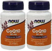2-Pack Of CoQ10 50 mg + Vitamin E 50 Sgels, Now Foods