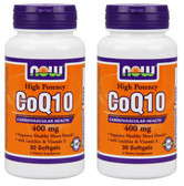2-Pack Of CoQ10 400 mg 30 Sgels, Now Foods