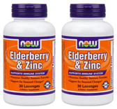 2-Pack Of Elder-Zinc 30 Loz, Now Foods, w/ Elderberry Extract Immune Defense