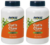 2-Pack Of Cat's Claw 500 mg 250 Caps, Now Foods