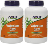 2-Pack Of Valerian Root 500 mg 250 Caps, Now Foods, Sleep Disorders