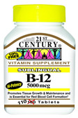 Sublingual B-12 5000 mcg 110 Tabs, 21st Century Health Care