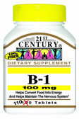 B-1 100 mg 110 Tabs, 21st Century Health Care