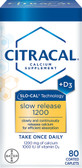 Calcium Supplement Slow Release 1200 + D3 80 Coated Tabs, Citracal