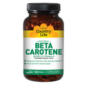 Beta Carotene 100 sGels, Country Life