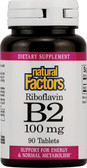 B2 Riboflavin 100 mg 90 Tabs, Natural Factors