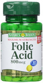 Folic Acid Maximum Strength 800 mcg 250 Tabs, Nature's Bounty
