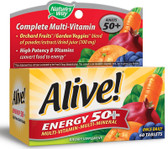 Alive! Energy Multivitamin-Multimineral For Adults 50+ 60 Tabs, Nature's Way