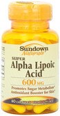 Super Alpha Lipoic Acid 600 mg 60 Caps, Rexall Sundown Naturals