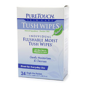 Individual Flushable Moist Tush Wipes 24 Single Use Packets, PureTouch Skin Care