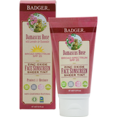 Zinc Oxide Face Sunscreen Sheer Tint SPF 25 Damascus Rose 1.6 oz, Badger Company