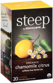 Steep Organic Chamomile Citrus Herbal Tea Caff- Free 20 Tea Bags, Bigelow