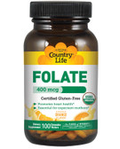 Folate Orange Flavor 400 mcg 100 Chewable Wafers, Country Life