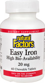 Easy Iron 20 mg 60 Chewable Tabs, Natural Factors