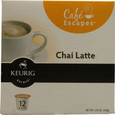 Cafe Escapes Coffee Beverage Mix Chai Latte 12 K-Cups, Green Mountain Coffee