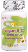 Vegan B12 plus Folic Acid Orange 1000 mcg 50 Loz, VegLife