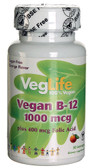 Vegan B12 plus Folic Acid Orange 1000 mcg 100 Loz, VegLife