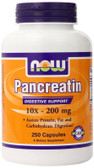 Pancreatin 10 x 200mg 250 Caps Now Foods, Digestive Health, New