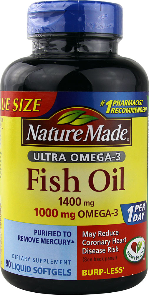 Ultra omega 3 fish oil 1400 mg 90 liquid sgels nature made for Fish oil 1400 mg