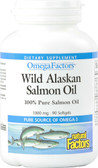 OmegaFactors Wild Alaskan Salmon Oil 1000 mg 90 sGels, Natural Factors