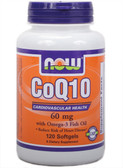 CoQ10 60 mg with Omega-3 120 Softgels, Now Foods