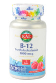B-12 Methylcobalamin Red Raspberry 1000 mcg 90 Tabs, KAL