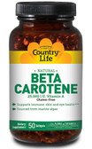 Natural Beta Carotene 50 sGels, Country Life