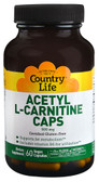 Acetyl L-Carnitine Caps 500 mg 60 Vegan Caps, Country Life