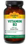 Vitamin B-2 100 mg 100 Tabs, Country Life