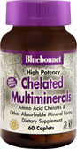 High Potency Chelated Multiminerals (No Iron) 60 Caplets, Bluebonnet Nutrition