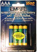 EMPIRE AAA 4-Pack NIMH 1000 mAh Battery