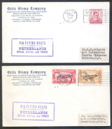 pif099a2. Philippines FFC #99a & 99b (old #99 & 100) Matching covers Manila 3-11-1935 to Puerto Princesa and Soerabaya Java. Attractive matching covers carried on Netherlands Royal Naval Air Force First Goodwill Flight.
