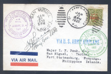 pif073. PHILIPPINES FFC 73 (old #69) DEL CARMEN TO SAN MIGUEL TO FORT STOTSENBURG 1-21-32 with C24. Signed by Gen. Brees. Scarce only 55 flown and 13 signed!