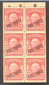 pi240k. Philippines 240a booklet pane of 6, Unused, OG, Very Fine w/wax paper adhering and minor rust stains from staples. Very Rare Pane!
