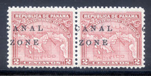 cz010k3. Canal Zone 10 variety pair Split Overprint unused NH Fresh & Very Fine. Scarce Variety!