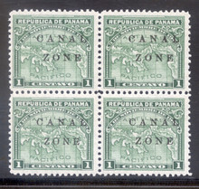 "cz009b2. Canal Zone 9b ""ZONE"" in Antique Type in blk/4 unused OG VF-XF. Scarce variety in Fresh and Choice block!"