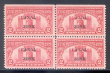 "cz096i. Canal Zone 96, ""ANAL"" Variety in blk/4, Unused, LH, Very Fine+ with NSE at top. Interesting & Unusual Variety!"