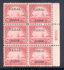 cz092f2. Canal Zone 92 Plate Block of 6, Unused, OG, VLH, Fresh & Very FIne. Scarce & Attractive Block!