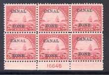 cz092f1. Canal Zone 92 Plate Block of 6, Unused, OG, VF-XF. Scarce & Superbly Centered!