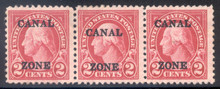 cz084j2. Canal Zone 84, 8.75mm Spacing Variety, in strip of 3. Unused, OG, F-VF+. Striking Strip!