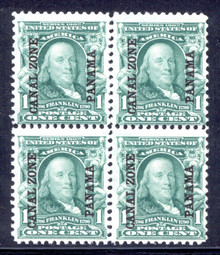 cz004b. Canal Zone 4 Blk/4, Unused, LH/NH, F-VF.