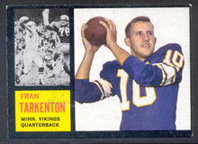 Football 1962 Topps 90 Fran Tarkenton Rookie Card. Hall-of-Fame Quarterback Minnesota Vikings. Scarce Card!