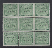 cz009a1. Canal Zone 9a & 9b in blk/9 * OG F-VF+. Very Scarce multiple!
