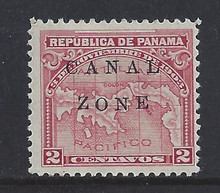 "cz010f3. Canal Zone 10 variety Dropped ""ON"" unused OG F-VF+. Very Scarce Error, only a few are known!"