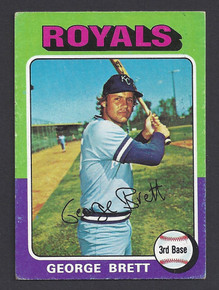 BASEBALL 1975 TOPPS 228 GEORGE BRETT ROOKIE CARD HOF 3RD BASEMAN KANSAS CITY ROYALS VG-EX CONDITION